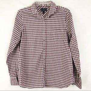 J Crew Maroon Plaid Boy Shirt Button Down Sz 8